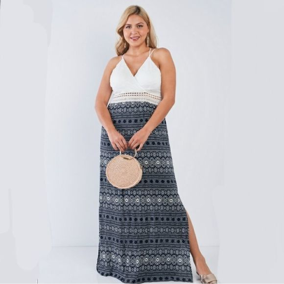 ASOS V Neck Crochet Criss Cross Back Maxi Dress